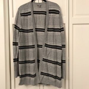 Talbots striped open long-sleeved cardigan